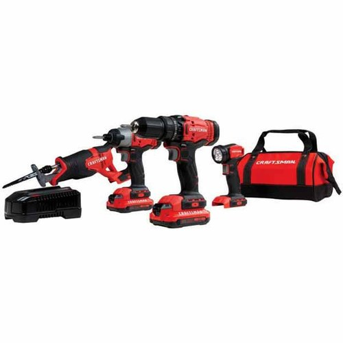 Craftsman 4-Tool 20-Volt MAX* Lithium Ion Compact Cordless Combo Kit with Soft Case