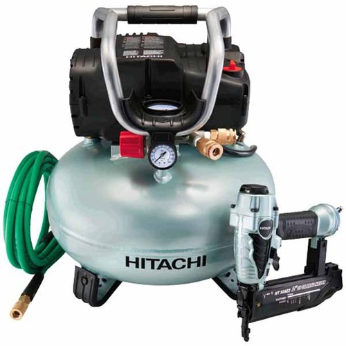 Hitachi 1-HP 6-Gallon 150-PSI Portable Electric Air Compressor/Brad Pneumatic Nailer Kit